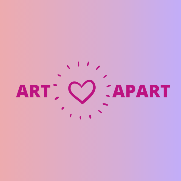 Art Apart logo - Art (heart with rays) Apart on a pink and purple background