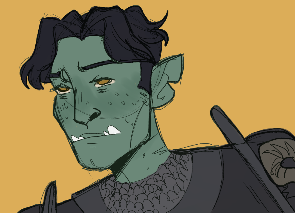 A digital drawing of a half orc man. He has dull green skin, yellow eyes, and rounded fangs protruding from his lower jaw. His back hair is cut short on the sides and is medium length on top, parted in the middle. He wears a suit of black chain mail.