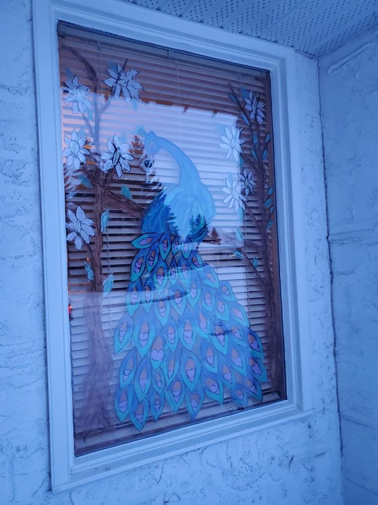 Stunning peacock window painting