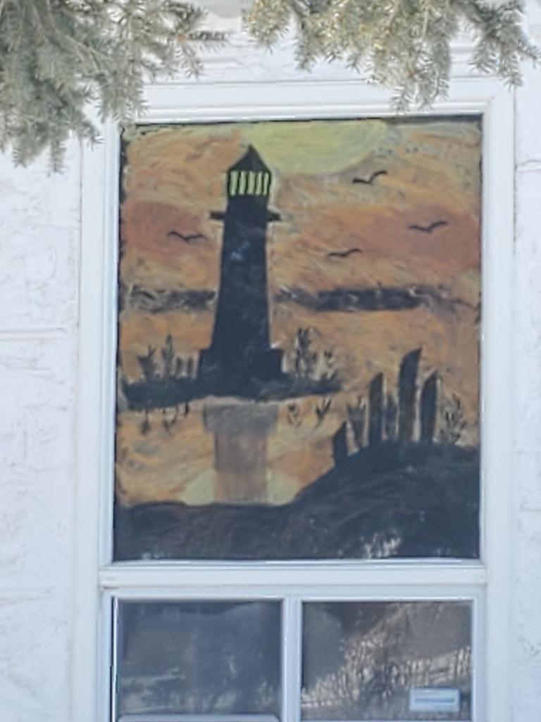 Beautiful lighthouse window painting