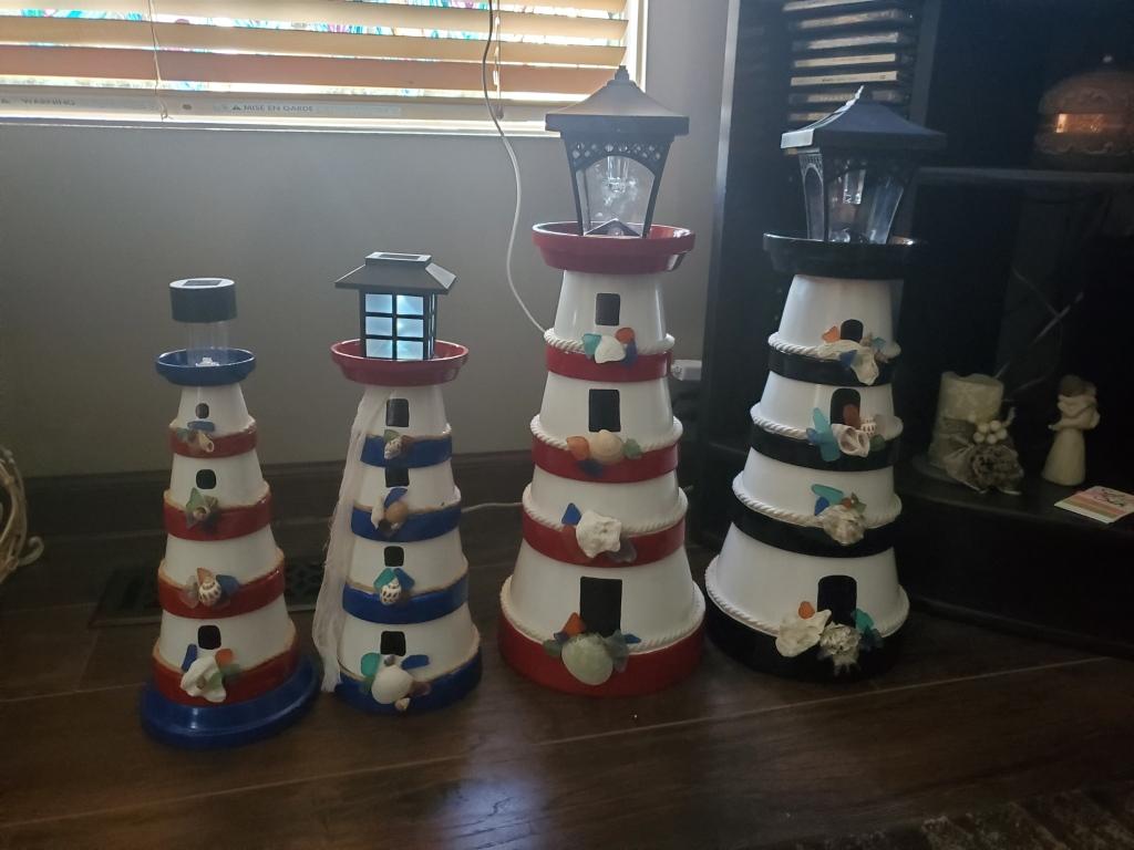 Set of clay-pot lighthouses