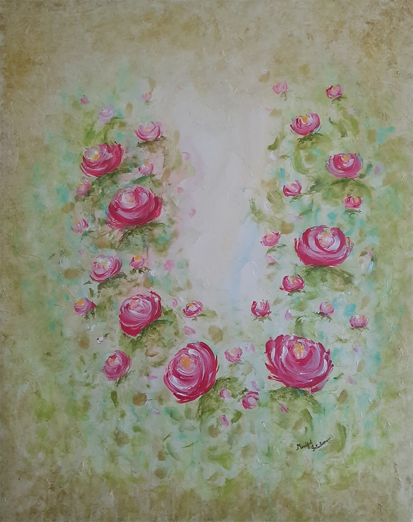 The painting has a green background with blue hues. Many pink flowers are lined up in the form of a 'U' shape. The flowers have many shades of pink, with a yellow center. The flowers look like lotuses.