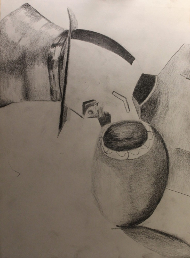 A sketch drawing, with black, gray, and white sades throughout. The piece is abstract and geometric. There is a realistic top hat placed on top of a person who is sideways in the frame. The person's eye and mouth are constructed with straight, sharp lines which form obscure symmetric shapes. They seem to be looking into a vase, which is not geometric and looks realistic.