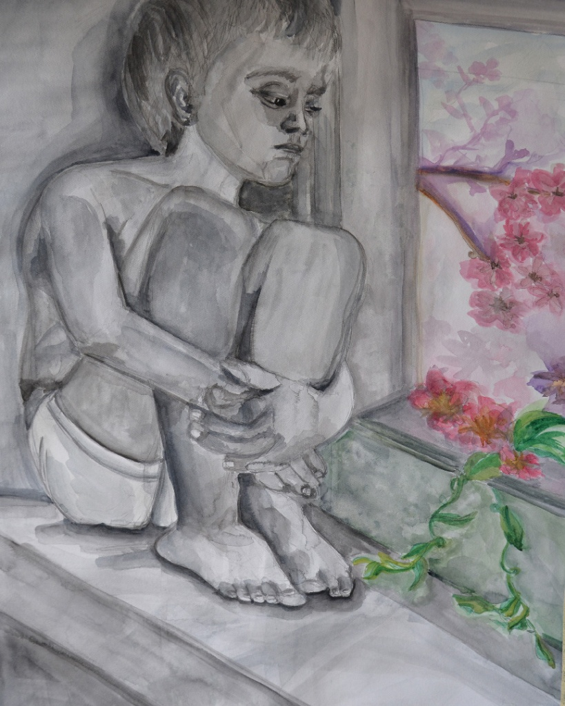 Child sitting by a window with flowers outside.