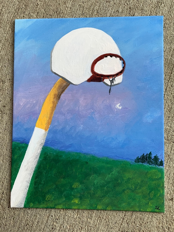 The painting is of a basketball net at dusk. In the foreground, the perspective is looking up at the rim of a basketball net. The basketball pole is half white and half yellow. The backboard of the net is white. The rim is a rusty red colour. The remnant chains of the basketball net hang from the rim and are tangled together. In the backround, there is a green grass field, with a collection of pine trees in the far distance. The sky is mostly a hue of blue, with some pink and purple scattered across. The moon is also in the background of the sky.