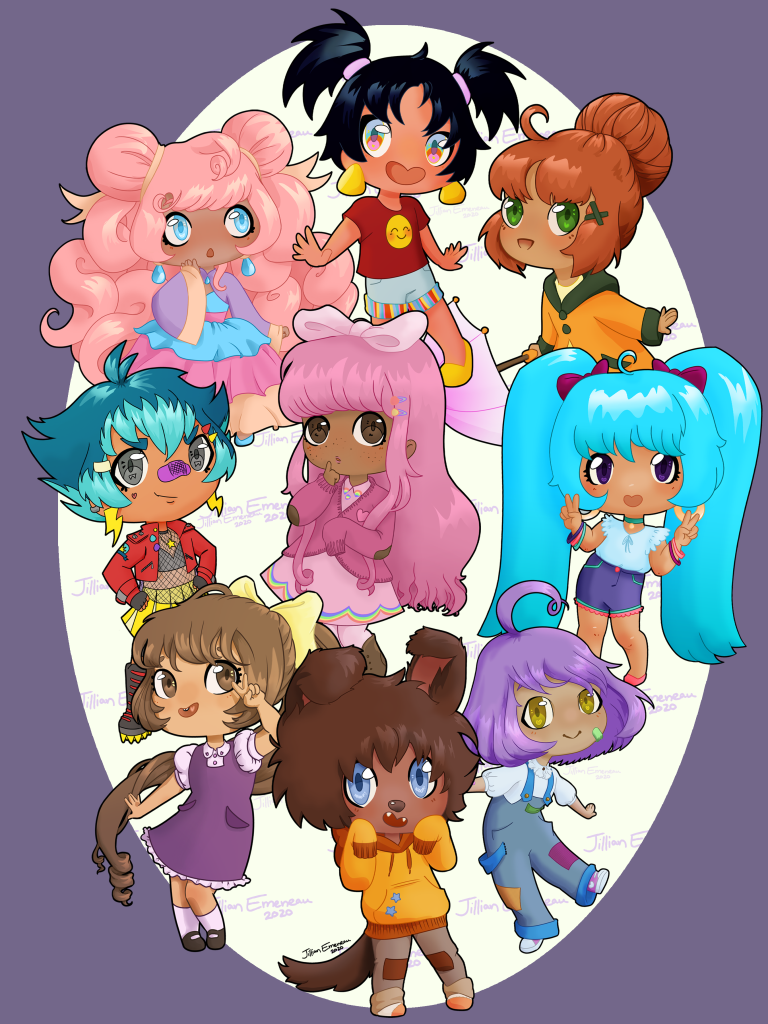 This piece depicts nine different chibi characters on a purple background. Many of them are emoting different facial expressions. From the top row moving down left to right:   1. A character with blue eyes and long, pink, wavy hair makes a quizzical expression. Their earrings match their eyes. They are wearing a ruffled blue, pink, and cream ball gown dress with a purple jacket. They have blue slippers.   2. A character with chin-length, spiky, black hair in two pig tails held in pink ties looks very excited. They have their hands out to their sides and they have a wide smile. They have gold, dangly earrings which match the smiley face on their red shirt and their shoes. They are wearing light blue shorts with vertical red, yellow and blue cuffs. Their eyes are a mix of blue, green, and pink.   3. This character has big, green eyes. They are smiling and leaning forward. They have ginger hair, that is placed in a bun. They are wearing a orange-yellow rain jacket with forest green buttons, hood, and cuffs. They are holding a pink umbrella. They have a green barrette in their hair.   4. This character is in a confident stance with hands on their hips. They have teal hair with neon blue bangs. They have grey eyes. They are wearing lighting bolt earrings. They have a purple bandage across their nose. They are wearing a red, leather jacket. They have a star necklace which is placed on top of their fishnet shirt with a bandeau underneath. They have a yellow pleated skirt and knee high combat boots.   5. This character has a shy expression and looks timid. They have long, straight, pink hair with a baby pink bow on top of their head. They have large, brown eyes. They are wearing a long pink dress, pink stockings, brown boots, and a pink cardigan with elbow patches.   6. This character is very happy and is showing peace signs. They have long, neon blue hair in pig tails held by raspberry loured bows. They have deep purple eyes. They are wearing a green choker necklace and ha
