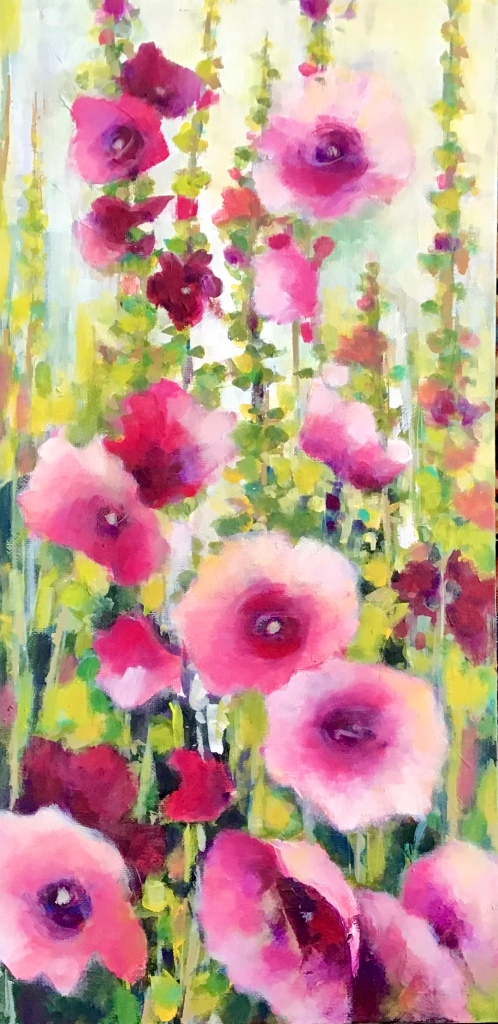 The painting depicts many flowers. The flowers are pink with a dark magenta/red center and light pink petals. The stems are many shades of greens and greeen-yellows.