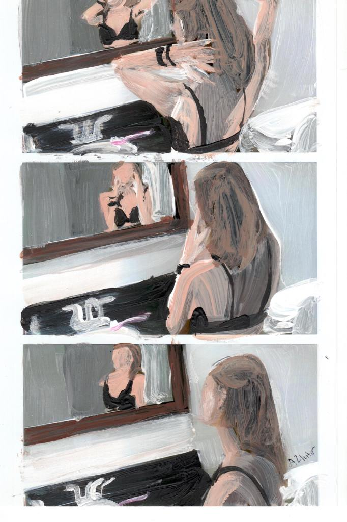 The painting is of a person looking at themselves in the mirror. There are three sections arranged in a panel. Each panel depicts a different situation of the person looking at themselves in the mirror. the mirror have a brown frame. Below it is a silver sink and faucet with a black counter top. There is a pink toothbrush that is perched on the edge of the sink. The subject of the photo has medium length, light brown hair, and is wearing a black bra. They have black hair bands on their wrist. In the first panel, the person is looking at themselves in the mirror, holding their hair behind their neck. In the second panel, the person holds their face as they look in the mirror. In the last panel, the person is looking at themselves in the mirror, standing at an angle.