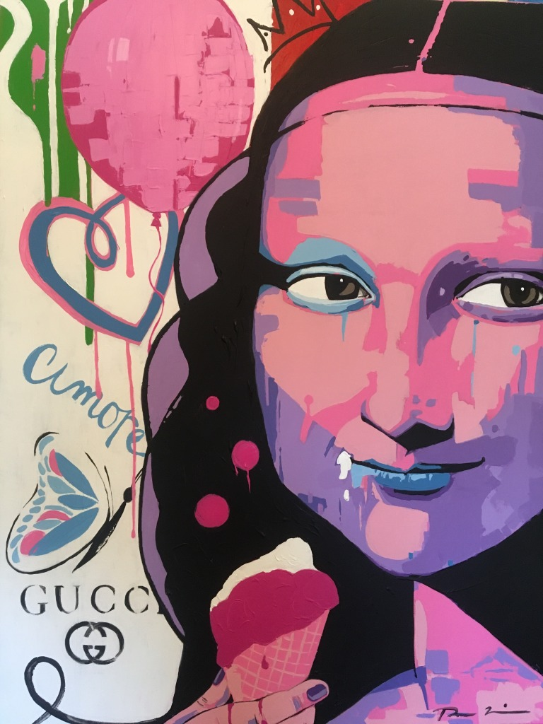 Painting of Mona Lisa's face (in purple, pink, and blue) on the right side of the canvas. On the beige background there is a pink balloon, a curled line drawing of a pink/purple heart, written in purple is 'amore,' the side of butterfly (pink, purple), and Gucci lettering and logo.