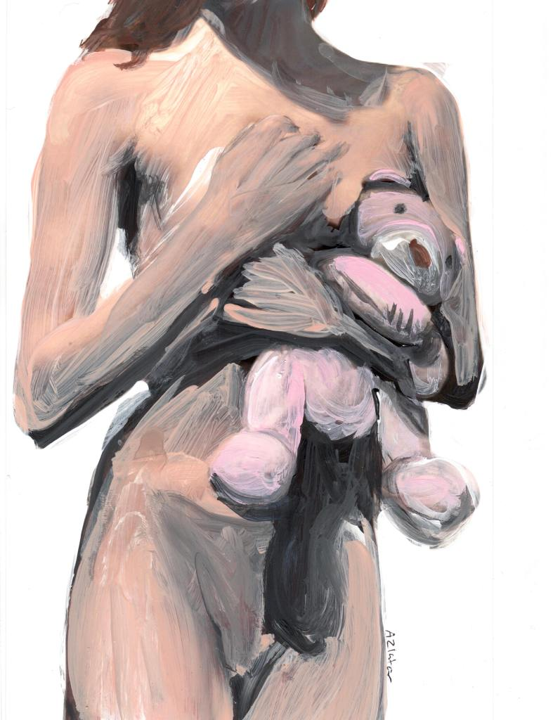 The painting depicts a person's body, showing the neck to the mid thigh. The person is nude, with hands covering one breast, and the other is covered by a pink plush bear, which the person is holding. The person's brown hair is placed behind their shoulder, with one strand place over the collarbone.
