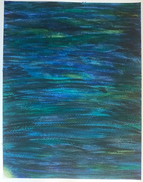 This is an abstract painting. Horizontal brush strokes cover the canvas, in cool tones of blue and greens. You can see many hues of light and dark blue, and light and dark green throughout the painting.