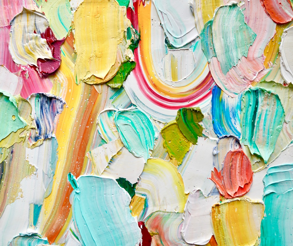 An oil painting with layers of oil paint in various colours including: yellow, green, blue, red, white, purple, pink, and orange.