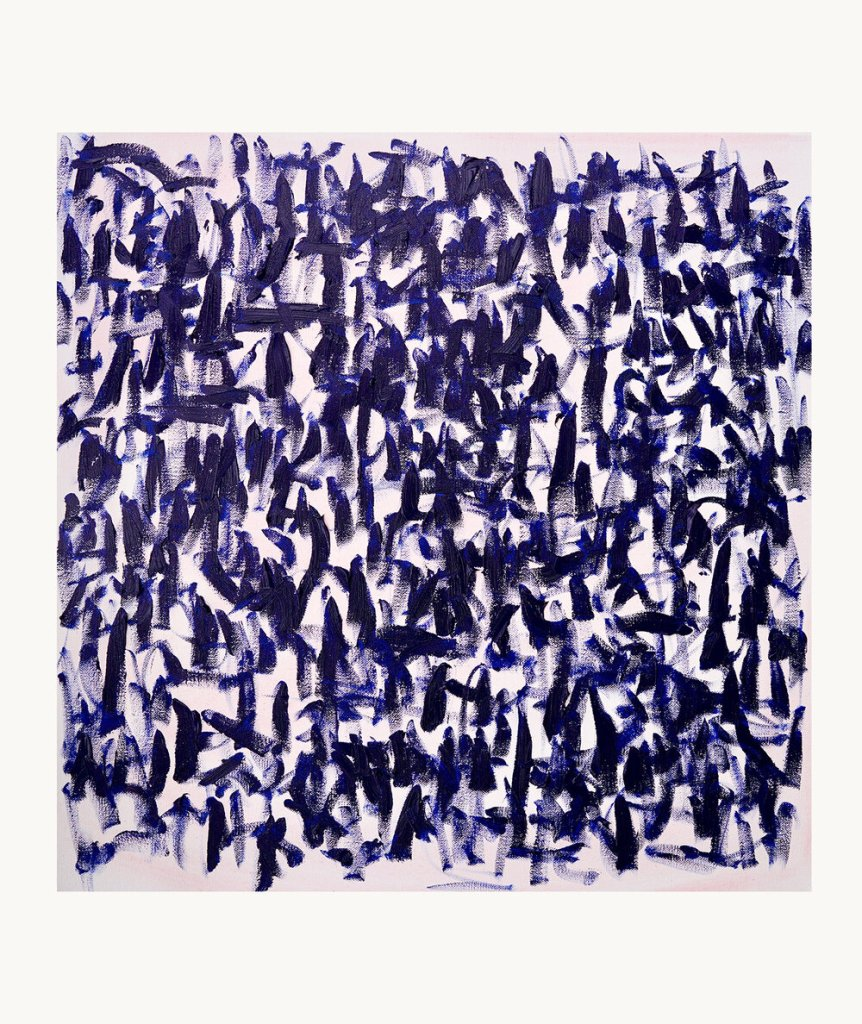 An oil painting with a light purple background and indigo and dark purple paint strokes.