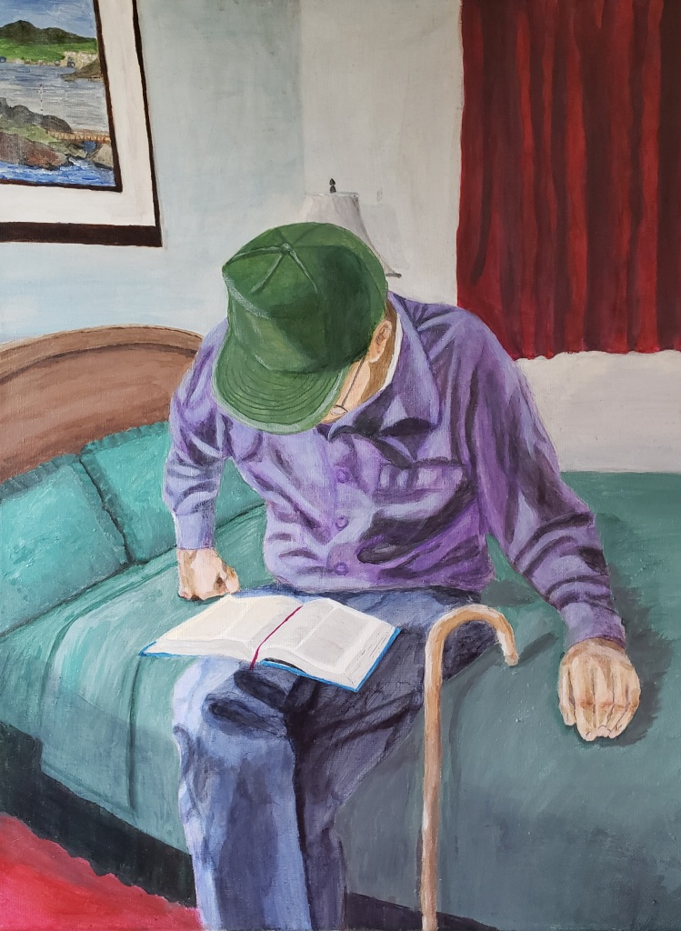 An acrylic painting of a white man wearing a purple shirt, blue pants, and green baseball cap reading a book on his lap. He sits on a green bed and there is a painting and red curtains in the background.