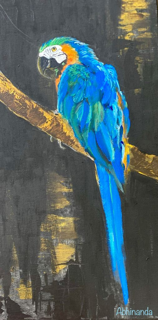 A painting of a blue, yellow, green parrot that sits with its back prominently displayed on a brown and golden stick. The background is black with a splash of yellow light in the top right corner.